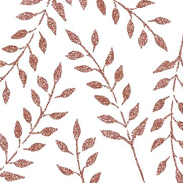Beautiful Rose Gold Sparkle Frond Leaves by naturemagick