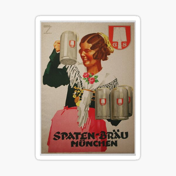 Vintage Spaten Brau Beer, Munich Sticker