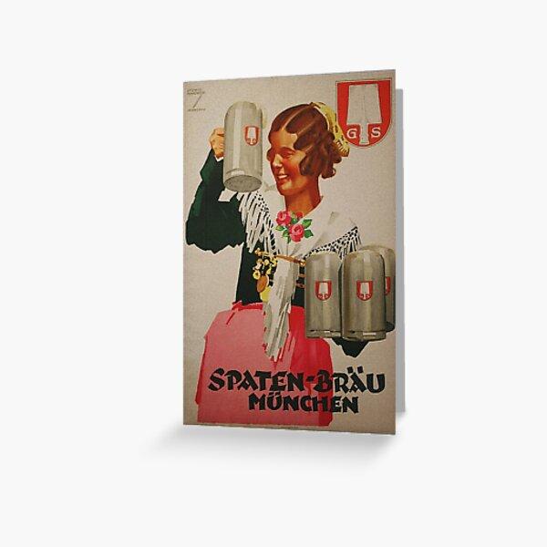 Vintage Spaten Brau Beer, Munich Greeting Card