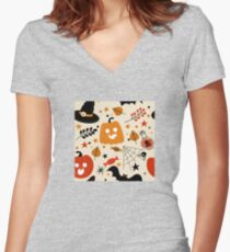 Halloween Candy And Cutie Pie Pumpkins October Pattern Women's Fitted V-Neck T-Shirt