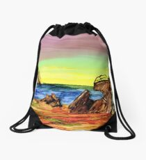 Old Beached Shipwreck Drawstring Bag