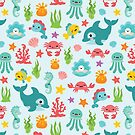 Cute Sea Animals Pattern by lisanorrisart