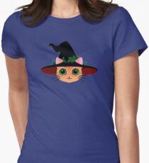 Chat sorcier  T-shirt col V femme