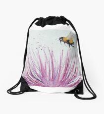 Bumble bee and Pink Flower Drawstring Bag