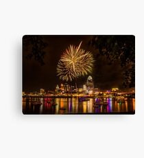 Firework on the River Canvas Print