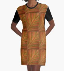 Natural Abstracts - Leaf Pattern Graphic T-Shirt Dress