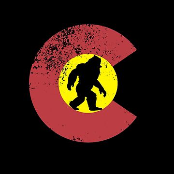 Bigfoot Sasquatch In Colorado State Flag Shirt Gear by DynamicDesign