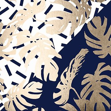 Gold Monstera Leaf Tropical Navy Blue and White Modern Art Design by SimpleLuxe