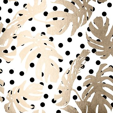 Gold Monstera Leaf Tropical Black and White Modern Art Polka Dots Design by SimpleLuxe