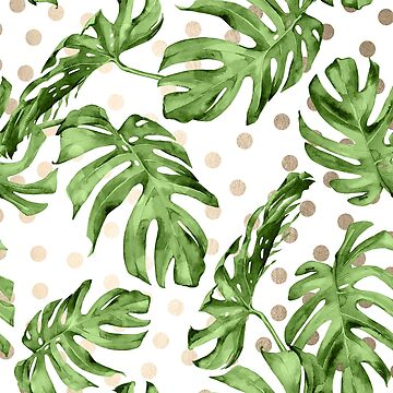 Green Monstera Leaf Tropical Gold Modern Art Polka Dots Design by SimpleLuxe