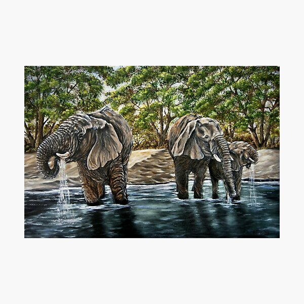 """""""Thirsty Elephants"""" - Oil Painting Photographic Print"""