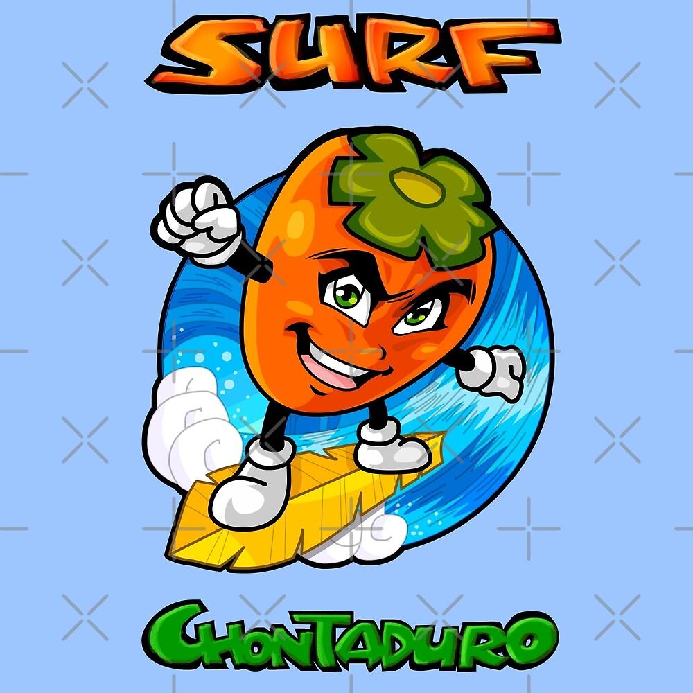 Chontaduro Surfing - Kawaii Cartoon Drawing by Elkin Grueso
