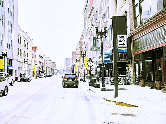 """A Cold and Snowy Day in Downtown Knoxville, Tennessee""... prints and products by Bob Hall©"