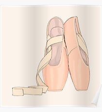 Pointe shoes peach (exists in red,purple,blue,yellow in my shop) Poster
