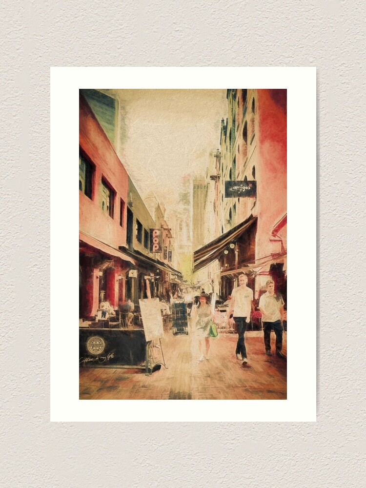 Alternate view of Hardware Lane, Melbourne Australia  (digital painting) Art Print