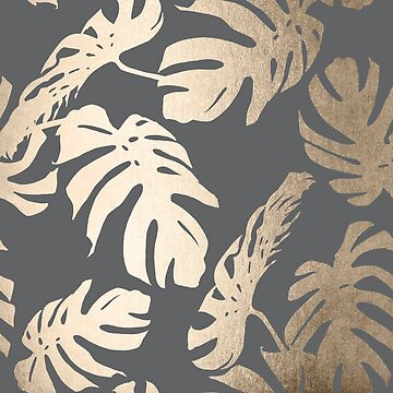 White Gold Sands Monstera Leaf Tropical Modern Design on Storm Gray by SimpleLuxe