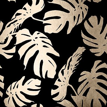 White Gold Sands Monstera Leaf Tropical Modern Design on Black by SimpleLuxe