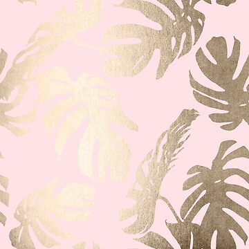 White Gold Sands Monstera Leaf Tropical Palm Leaves Modern Design on Flamingo Pink by SimpleLuxe