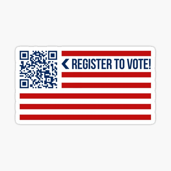 American Flag | QR Code | Register to Vote!  Sticker