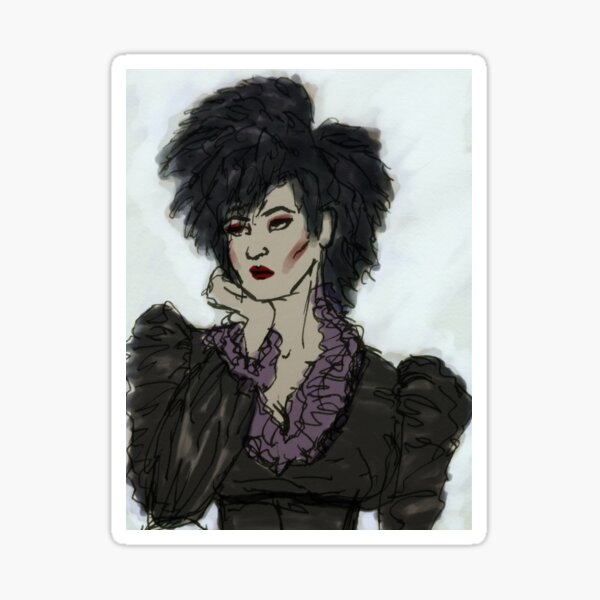 Illustrated Gothic Self-Portrait Sticker