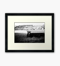 Black and White Tractor Framed Print
