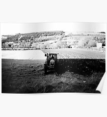 Black and White Tractor Poster