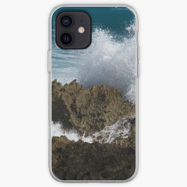 Wave Action - Jagged Lava Rocks and Spume - Act One iPhone Soft Case