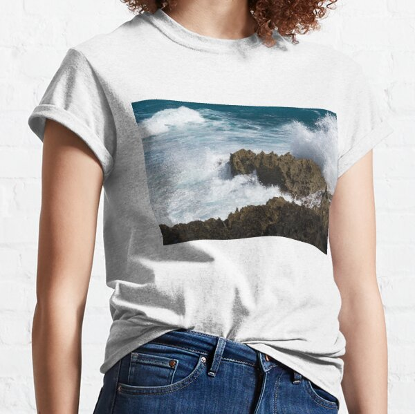 Wave Action - Jagged Lava Rocks and Spume - Act One Classic T-Shirt