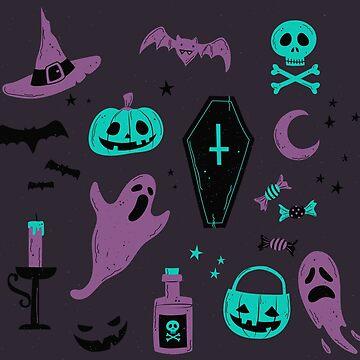 Aqua & Purple Halloween by ninthstreet