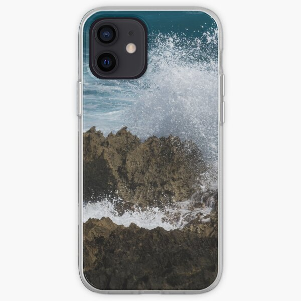 Wave Action - Jagged Lava Rocks and Spume - Act Two iPhone Soft Case