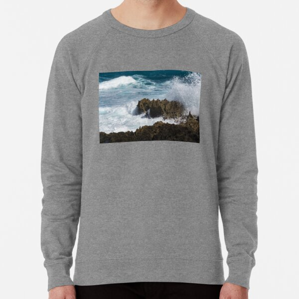 Wave Action - Jagged Lava Rocks and Spume - Act Two Lightweight Sweatshirt