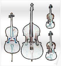 The Four Strings - Violin, Viola, Cello, Bass Poster