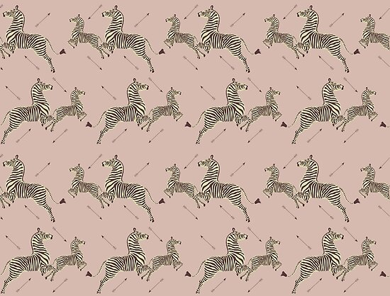 Zebra Wallpaper - Dusty Pink - Royal Tenenbaums Margot