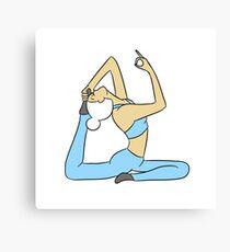 White-Haired Yogi with Blue Yoga Pants Canvas Print