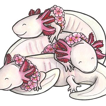Sleeping pile of axolotls by animalartbyjess