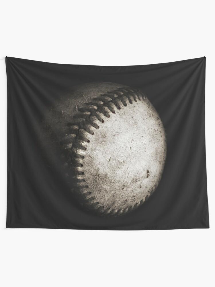 Alternate view of Battered Baseball in Black and White Tapestry