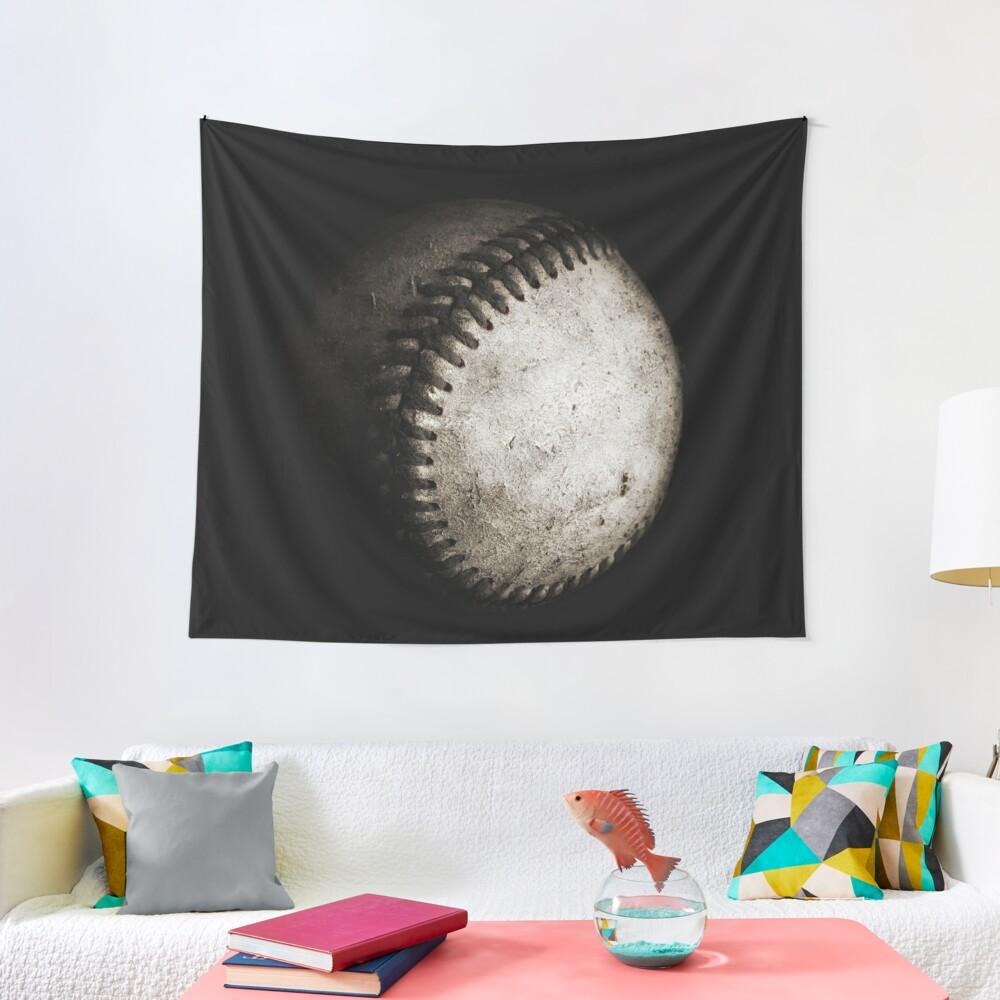 Battered Baseball in Black and White Tapestry
