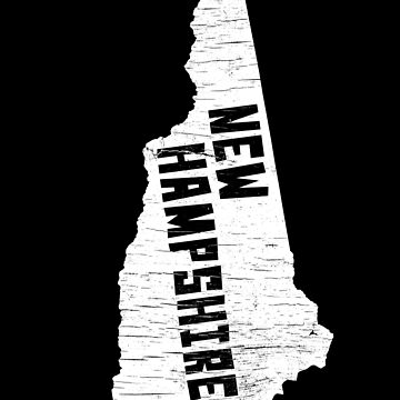 New Hampshire Home Vintage Distressed Map Silhouette by YLGraphics
