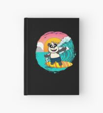 Panda Riding A Surfboard Catching Waves Hardcover Journal