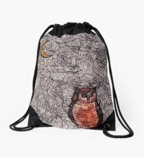 Owl and the Moon Drawstring Bag