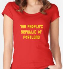The People's Republic of Portland (yellow letters) Women's Fitted Scoop T-Shirt