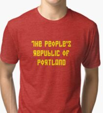 The People's Republic of Portland (yellow letters) Tri-blend T-Shirt