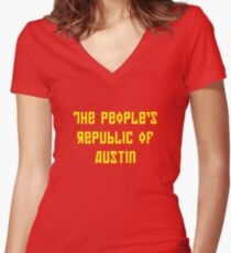The People's Republic of Austin (yellow letters) Women's Fitted V-Neck T-Shirt