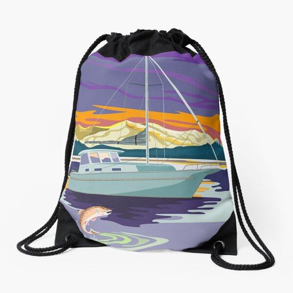 Sailboat Retro Drawstring Bag