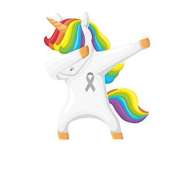 Brain Tumor Warrior Awareness Gray Ribbon Dabbing Unicorn  by CheerfulDesigns