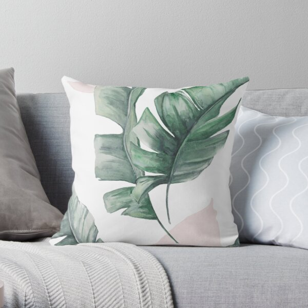 Palm leaves green and pink Throw Pillow