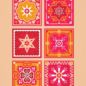 Talavera Mexican Tile – Hot Pink & Orange Palette by catcoq