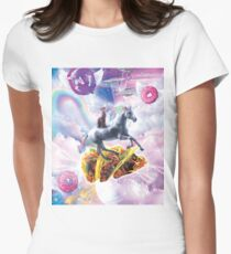 Space Cat Riding Unicorn - Taco & Donut Women's Fitted T-Shirt