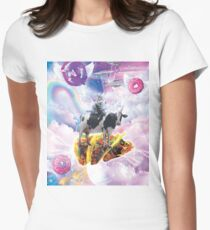 Space Cat Riding Cow Unicorn - Taco & Donut Women's Fitted T-Shirt