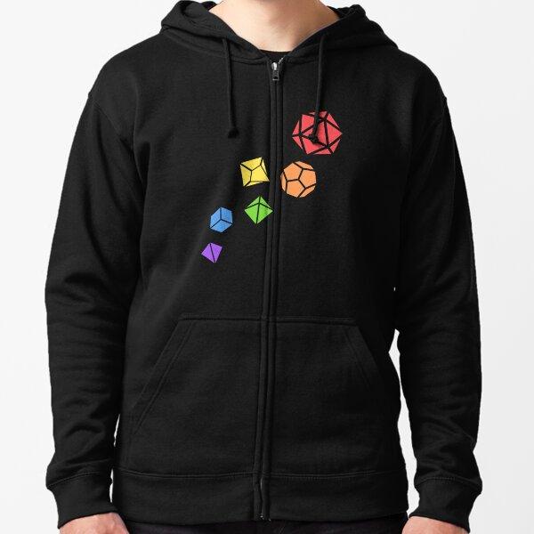 Polyhedral Dice Set Rainbow Tabletop RPG Zipped Hoodie